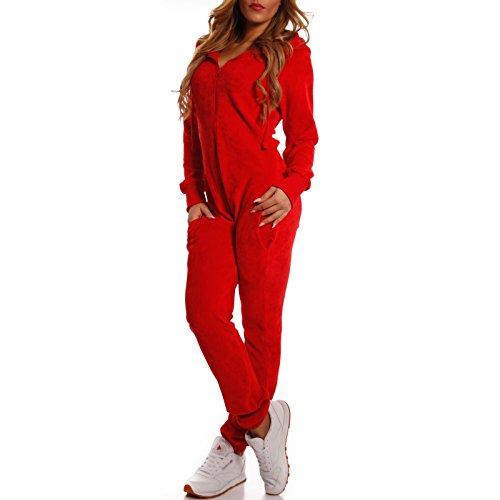 Crazy Age Damen Jumpsuit aus Samt (Rot) - 2