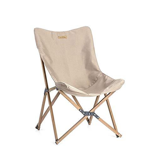 Außen Klappstuhl Holz Holz Angeln Stuhl kann for Büro Camping Licht Holzmaserung Nap Stuhl Liegestuhl Angeln Klappstuhl im Freien-Khaki für das Angeln (Color : Khaki)