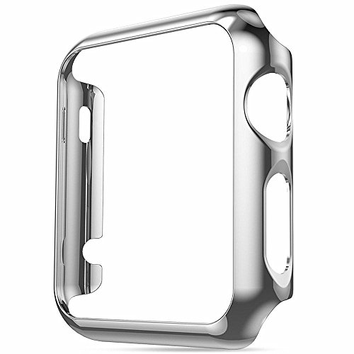 Youranzhenpin Compatible with Apple Watch SE Series 6 5 4 40mm Case Super Thin PC Plating Protective Bumper Scratch Resistant Protector Case for Apple Watch 40mm (Silver, 40mm)