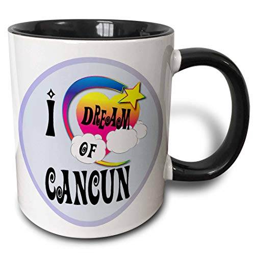 Cute Girly Heart Star Clouds I Dream Of Cancun Taza de dos tonos, negro