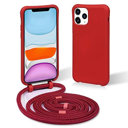 Funda con DETACHABLE Cuerda para iPhone 11 Pro - Carcasa desmontable de TPU con Colgante Case con Correa Colgante - con Cordon para Llevar en el Cuello en Rojo