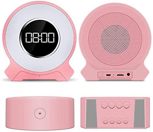dh-10 Reloj despertador multifunción, radio FM, altavoz Bluetooth, intensidad regulable, luz nocturna LED, micrófono integrado para contestar llamadas, ranura para tarjeta TF, rápido y estable