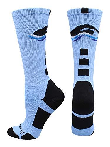 MadSportsStuff Swimmer Logo Athletic Crew Socks (Columbia Blue/Black, Small)