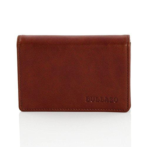 BULLAZO CONTACTO Hochwertiges Visitenkartenetui aus Leder + RFID Schutz/Braun