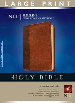 Slimline Center Column Reference Bible NLT Large Print TuTone  Red Letter LeatherLike Brown/Tan