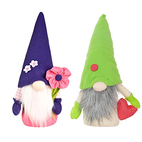 Spring Flowers Gnome Mother's Day Gnomes Gift for Mother, Handmade Faceless Doll Stuffed Dwarf Gnome, Ornaments for Easter Holiday Mother's Day(2pcs,D)