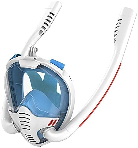 AWJ Máscara de esnórquel de Buceo Máscara de Buceo con respirador Doble Máscara de Buceo Máscara de esnórquel de Cara Completa bajo el Agua Equipo de Buceo con esnórquel de natación para ad
