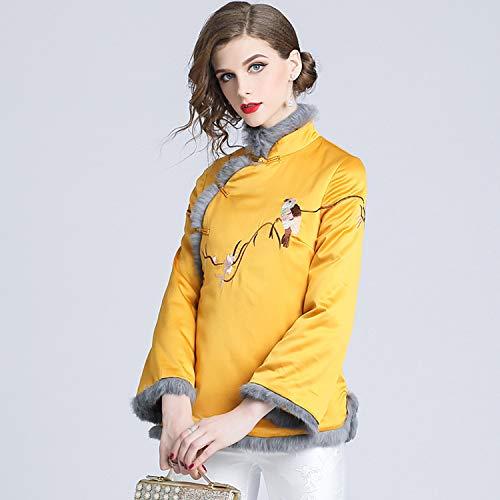 XCXDX Chaqueta Corta De Cheongsam Bordada para Mujer con Cuello De Piel, Chaqueta Cálida De Otoño E Invierno, Belleza Oriental Vintage