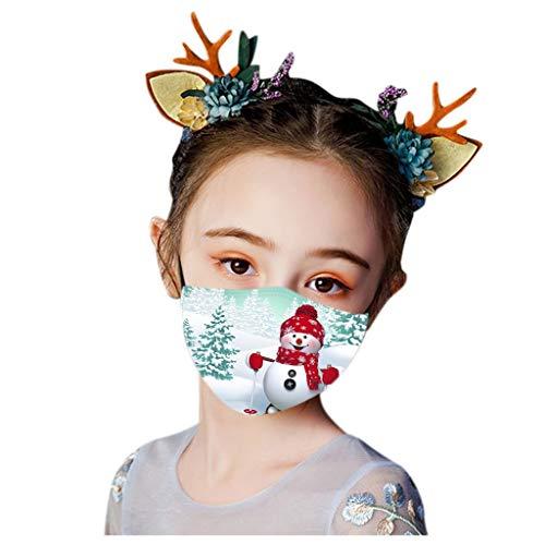 SHUANGA Weihnachten Gesichts Mund, Wiederverwendbare Staubschutzn, Süße Mundschutz Kälteschutz für Kindwandern Radfahren Camping Outdoor außenbereich Home Schule