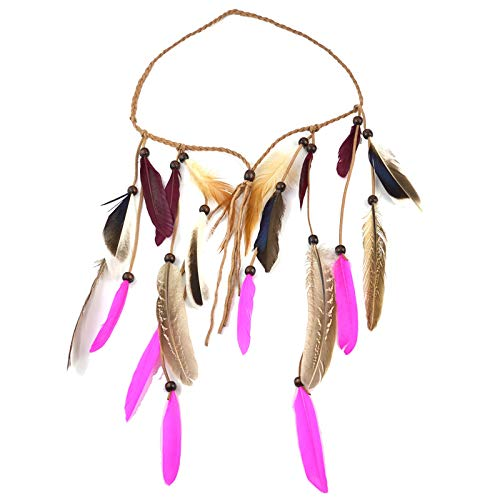 Chica Decorando Sombreros Tocado Hippie Headband Fancy Feather Tocado Tocado Tocado Diadema con Borlas De Plumas (Color : Multi-Colored, Size : One Size)