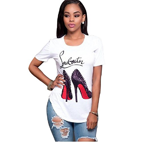 Topways Smummer Women's Short Sleeve Round Neck Graphic Print T-Shirt Casual Blouse, High Heels (3X-Large) White