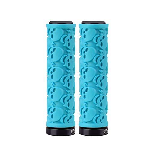 BESPORTBLE Bicycle Handlebar, Skull Pattern Non-Slip Bike Grips, Soft Ergonomic Cycling Handle Bar Grips for MTB Bike (Blue)