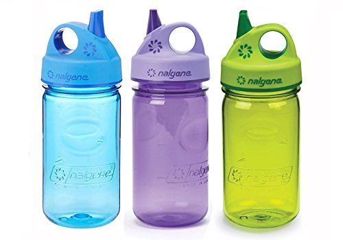 Nalgene Kids/Children's Grip-n-Gulp 12oz. Water Bottles, 3 Bottle Bundle Pack (Purple, Blue and...
