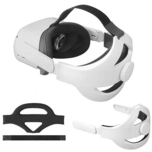 Vakdon Q2 - Correa ajustable para la cabeza para auriculares Oculus Quest 2 VR, repuesto para gafas de realidad virtual, almohada ajustable, almohadilla cómoda, alivia la presión de la cara (blanco)
