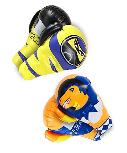 J&A's Inflatable Dudes Large Kids Inflatable Boxing Gloves Ninja & T-Rex Dinosaur | Both Sets are Included | Kids Punching Bag | Inflatable Toy | Premium Vinyl- Has Inside Grip Handle