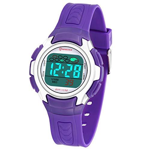 Kinderuhr Junge, Digitale Kinderuhr Sport 5 ATM Wasserdicht Digitaluhr Kinder mit Alarm/Timer/Sieben Farben LED Licht, Stundensignal,Jungen Kinderuhren Armbanduhr