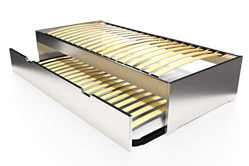 ABC MEUBLES - Lit gigogne Malo 90x190 cm - TOPMALO90 - Gris Aluminium, 90x190