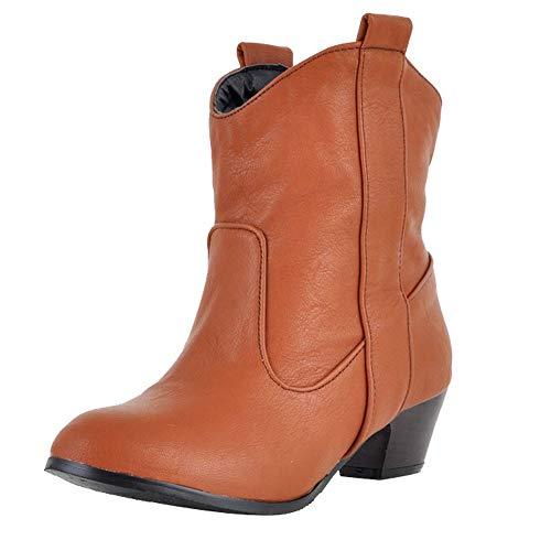 Viernes Negro JiaMeng Zapatos de tacón Alto Botas de Cuero para Mujer con Botines Impermeable Anti Deslizante Zapatos