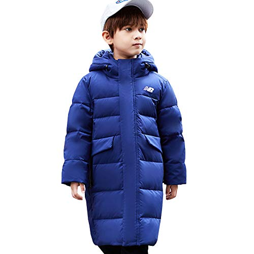 YFPICO Kinder Jungen Mädchen Daunenjacke Steppjacke mit Kapuze Lang Warm Verdickte Winterjacke Wintermantel Daunenmantel Parka Outdoor, Blau, 152/158 (Etikettengröße:160)