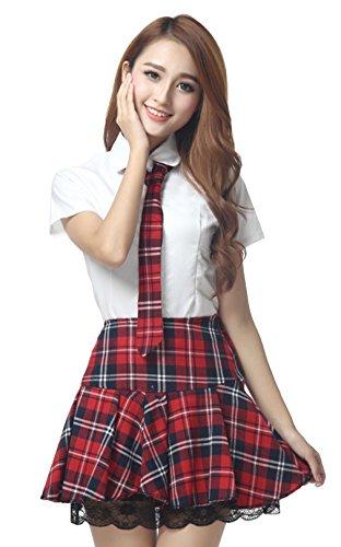 La vogue Damen Mädchen Schuluniform mit Spitze Cosplay Kostüm Rot Brust92cm~96cm