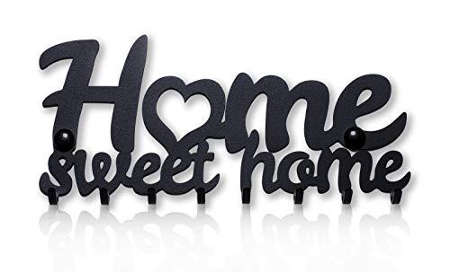 M-KeyCases Home Sweet Home Wand-Organizer Schlüsselbrett (8-Haken) Dekorativer Schlüssel-Board Hakenleiste Schlüsselleiste Vintage Decor Haus-tür Küche Fahrzeug-schlüssel Aufhänger, Hsh Schwarz