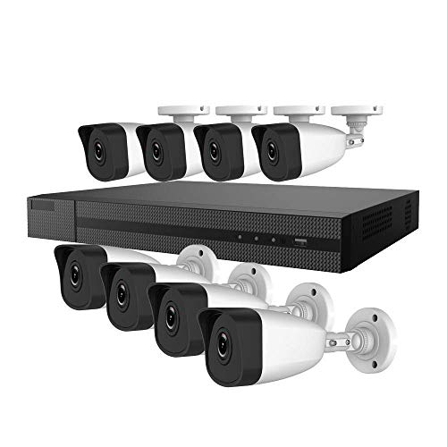 Hiwatch by Hikvision 1080P / 2MP 2.8mm Fixed Lens IP Security Camera System with 8CH HD NVR and 8X 2.0 Megapíxeles 1920 x 1080 CCTV Bullet Camera PoE Kit