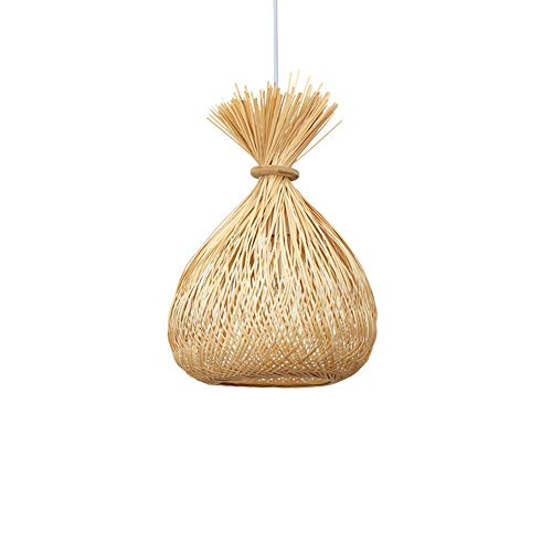 ZGZRXGY Estilo Chino Simple Decorativo bambú araña sudeste Asia Estilo bambú ratán ratán Mimbre Colgante iluminación Tejido Manual Natural de Estilo Rural Droplight Hogar de la Cabeza de la Cabeza