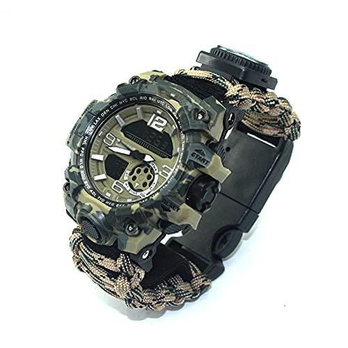 WTYU Hombre Relojes Reloj Deportivo De Ocio Al Aire Libre Survival Cuerda Trenzada Cuerda De Mano Tendencia Moda Multifuncional Supervivencia Resistente Al Agua, Hombre R E