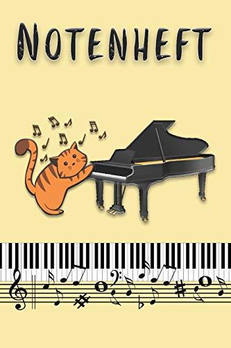 Notenheft: Notenblock für Kinder und Erwachsene | Motiv: Katze mit Klavier |110 Seiten, große Lineatur | Format 6x9 DIN A5 | Für Anfänger und ... Schreibheft | Leere Notensysteme | Blanko