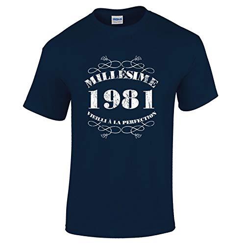 Bang Tidy Clothing T-Shirt Anniversaire Homme 40 Ans Millésime 1981 XL Marine