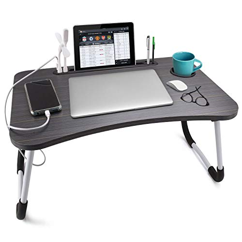 Slendor Laptop Desk Foldable Bed Table Folding Breakfast Tray Portable Lap Standing Desk Notebook Stand Reading Holder for Bed/Couch/Sofa/Floor