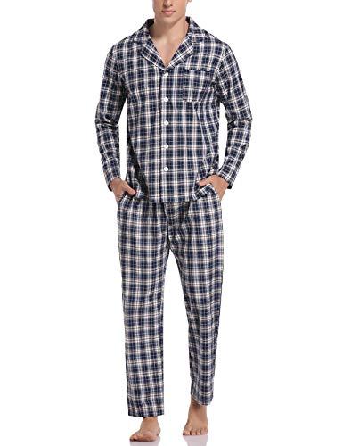 Aibrou Herren Schlafanzug lang Karierter Pyjama Set Zweiteilige Nachtwäsche Langarm mit V-Ausschnitt und Knopfleiste Blau+Khaki+Weiß M