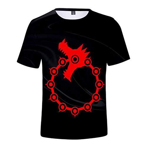 De zeven dodsünden 3D print T-shirt, Anime Pritned korte mouwen T-shirt tops, unisex