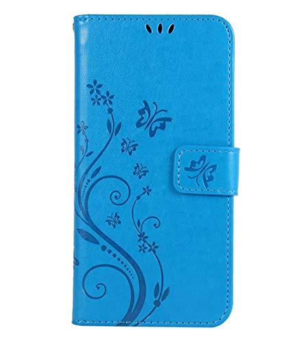 Homikon PU Leder Hülle Schmetterling Muster Schutzhülle Brieftasche Handyhülle Lederhülle Kartenfach Magnetverschluss Ständer Filp Wallet Case Schale Kompatibel mit Samsung Galaxy A5 2017 - Blau