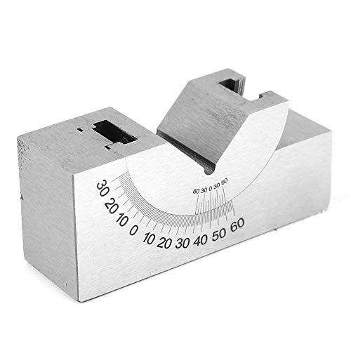 Bloque de ángulo ajustable en V, 7,6 x 1 x 1,4 pulgadas AP30 0-60 ° Bloque de calibre de ángulo para fresar torno con llave inglesa