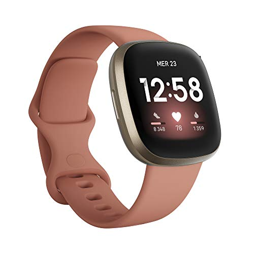 Fitbit Versa 3 Pink Clay - Soft Gold Smartwatch Unisex-Adult, Argile Rose, Or, Pâle, One