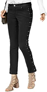 INC International Concepts Curvy-Fit Lace-Up Skinny Jeans (Deep Black, 12)