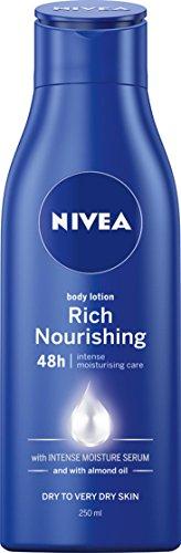 NIVEA Rich Nourishing Moisturising Body Lotion & Moisturiser with Intensive Moisture Serum & Almond Oil for Dry to Very Dry Skin, 250ml