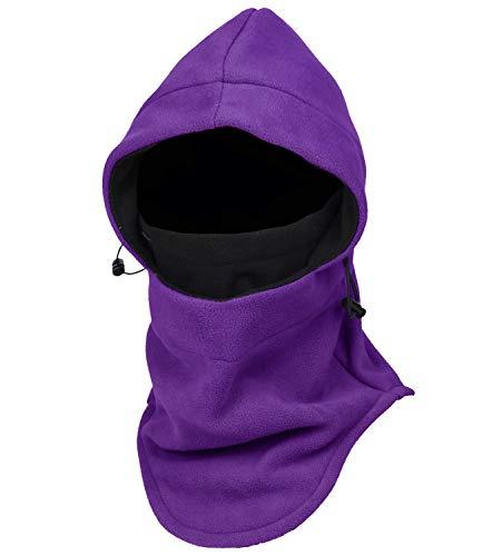 Warm Fleece Balaclava Ski Bike Full Face Mask Neck Warmer Winter Sports Cap (Purple+Black)