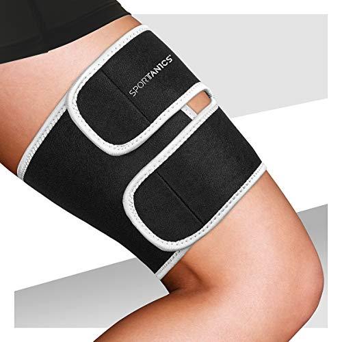 Sportanics® Oberschenkelbandage mit Klettverschluss, Bandage Oberschenkel Damen - Stabilität durch Oberschenkel Kompression, Leistungssteigerung, Sport, Running, Laufen & Krämpfen