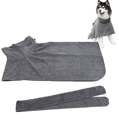 Legendog huisdier gewaad dikke waterabsorberende huisdier badjas hond bad handdoek met taille riem, Grey5
