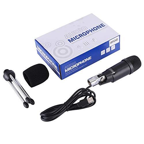 Bubbry LESHP draagbare metalen audiokabel zwart microfoon USB plug & play met statief