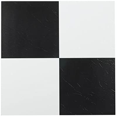 Achim Home Furnishings FTVSO10320 Nexus 12-Inch Vinyl Tile, Solid Black and White, Pack of 20