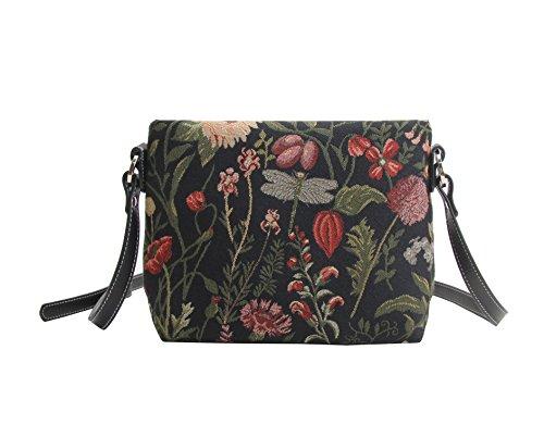 Signare Tapestry Arazzo Borsa a Tracolla Donna, borsa a spalla donna, Crossbody bags con Disegni da Giardino (Mattina Giardino Nero)