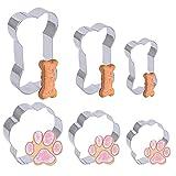 AILANDA 6 cortadores de galletas para perros juego de cortadores de galletas de metal de acero inoxidable cortadores de forma de pata y hueso de perro cortador de galletas para hacer pasteles