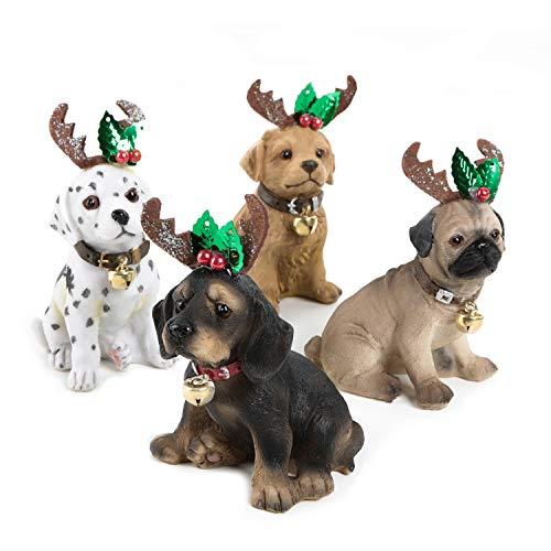 Logbuch-Verlag 4 statuine natalizie con corna – Decorazione natalizia per cani 11 cm – Statuetta di animale come piccolo regalo per bambini