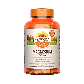 Sundown Magnesium Supplement Non-GMOˆ Gluten-Free Dairy-Free Vegetarian 500mg Coated Caplets 180 Count 6 Month Supply