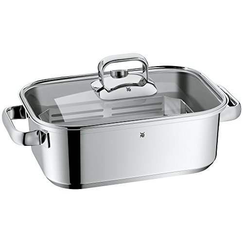 WMF Vitalis Compact steam Cooker/Roaster, with Glass lid, Cooking Thermometer, Cooking Plate, Cromargan Stainless Steel, Suitable for Induction