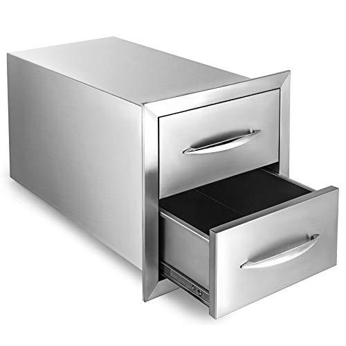 GIOEVO Cassetto per Cucina Esterno Cassetto per Barbecue in Acciaio Inox con Doppio Accesso e Maniglia Cromata (14 x 22,8 x 14,38 Pollici, Cassetto Doppio Accesso)