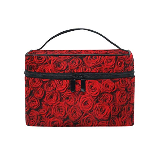 Bolsa de maquillaje, diseño de rosas florales de San Valentín estuche de viaje portátil de impresión grande bolsa de cosméticos organizador compartimentos para niñas mujeres señora